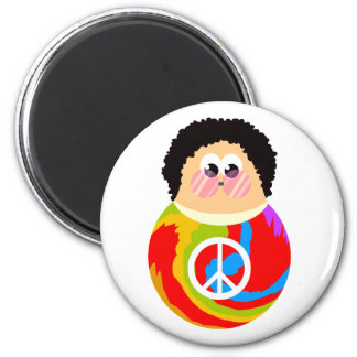 60's Child Funny Cartoon Peace Kid 6 Cm Round Magnet