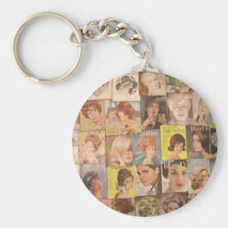 60s Hair Collage Budget Keychain