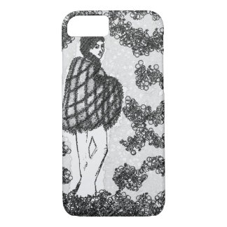 60's hippie woman, black and white iPhone 8/7 case