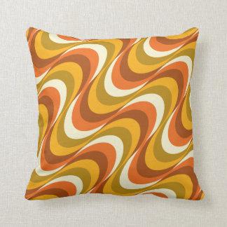 60's orange waves throw pillow