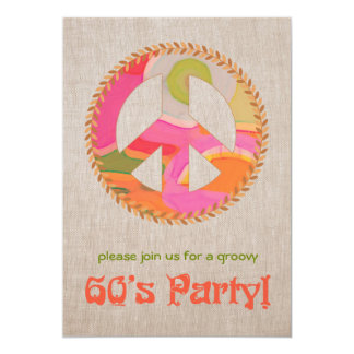 "60's Party Invitation 5"" X 7"" Invitation Card"