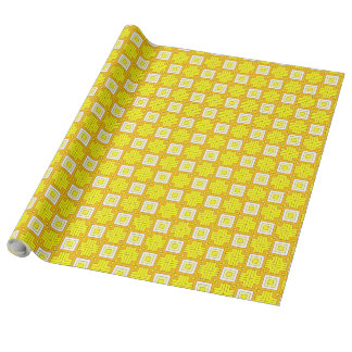 60s pattern MARLENE, yellow Wrapping Paper