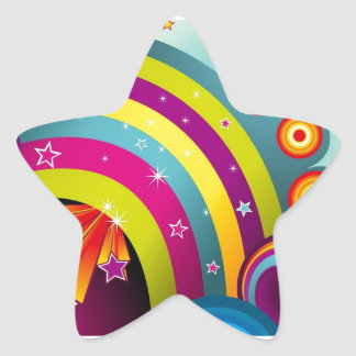 60s Psychedelic Explosion Star Sticker