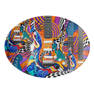 60's Retro Guitar Platter Plate Color Print Plate Porcelain Serving Platter