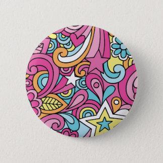 60s Retro Hippy Peace Pattern 6 Cm Round Badge