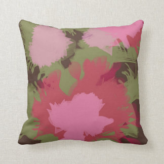 60's Style colorful retro flowers Throw Pillow