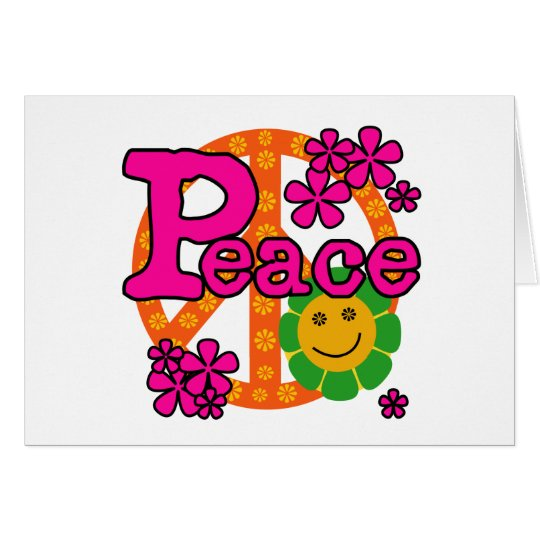 60s Style Peace Greeting Card