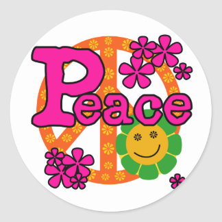 60s Style Peace Round Sticker