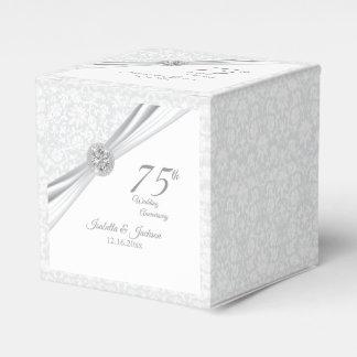 60th / 75th Diamond Wedding Anniversary on White Favour Box