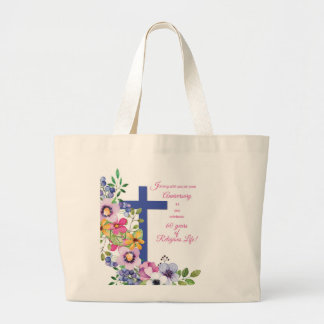 60th Anniversary, Nun, Religious Life Cross Large Tote Bag