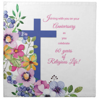 60th Anniversary, Nun, Religious Life Cross Napkin