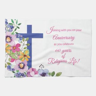 60th Anniversary, Nun, Religious Life Cross Tea Towel