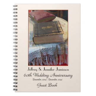 60th Anniversary Party Guest Book, Vintage Bible Spiral Notebook