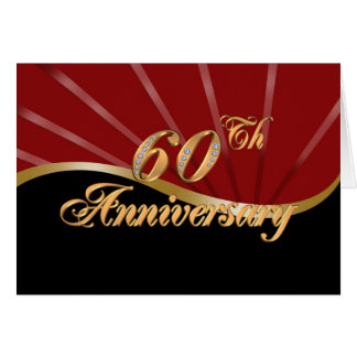 60th anniversary party invitation red black card