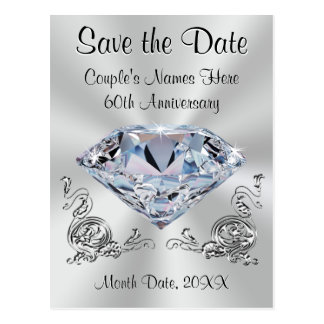 60th Anniversary Save the Date Cards PERSONALIZED Postcard
