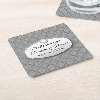 60th Anniversary Wedding Anniversary Diamond A09 Square Paper Coaster