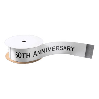 60th Anniversary Wedding Anniversary Diamond Z01 Satin Ribbon