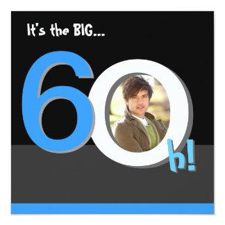 60th Big 6Oh! Photo Template Birthday Party 13 Cm X 13 Cm Square Invitation Card
