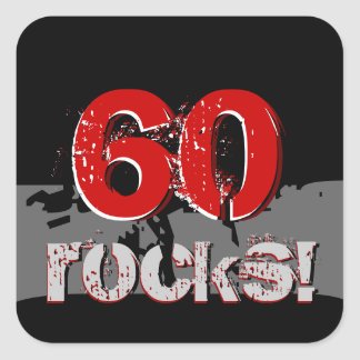 60th Birthday - 60 Rocks! Grunge Red and Black Square Sticker