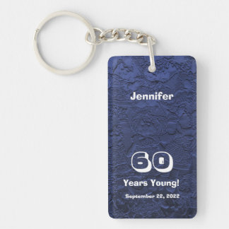 60th Birthday 60 Years Young Blue Dolls Keychain