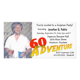 60th Birthday Adventure Party Photo Invitation Photo Card Template