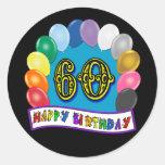 60th Birthday Balloons Happy Birthday Sticker