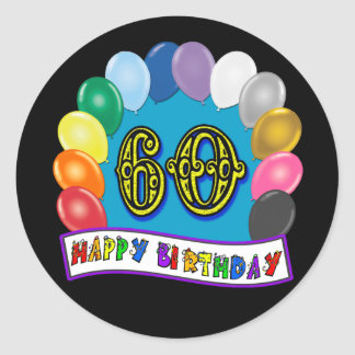 60th Birthday Balloons Happy Birthday Sticker