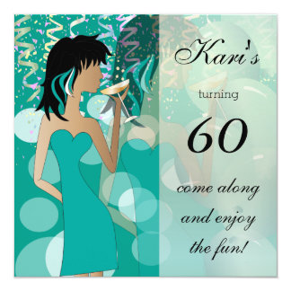 60th Birthday Bash Girl Party | Teal 13 Cm X 13 Cm Square Invitation Card