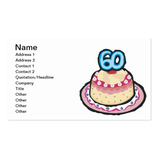 60th Birthday Business Card Template