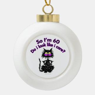 60th Birthday Cat Gifts Ceramic Ball Christmas Ornament