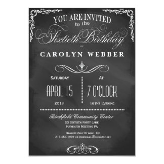 60th Birthday Chalkboard Typography Party Invite