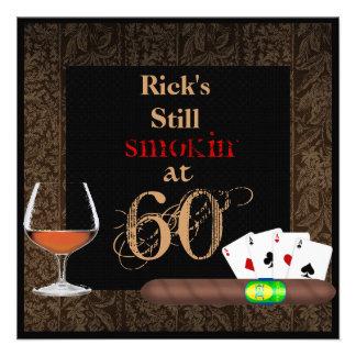 60th Birthday Cigars Pokerand BRANDY INVITATIONS