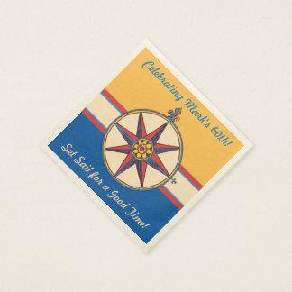 60th Birthday Coastal Lifestyle Nautical Theme Disposable Serviette