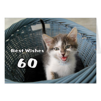 60th Birthday Crazy Kitten Greeting Card