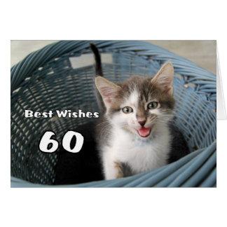 60th Birthday Crazy Kitten Greeting Card