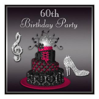 60th Birthday Disco Diva Cake and Heels Hot Pink Invite