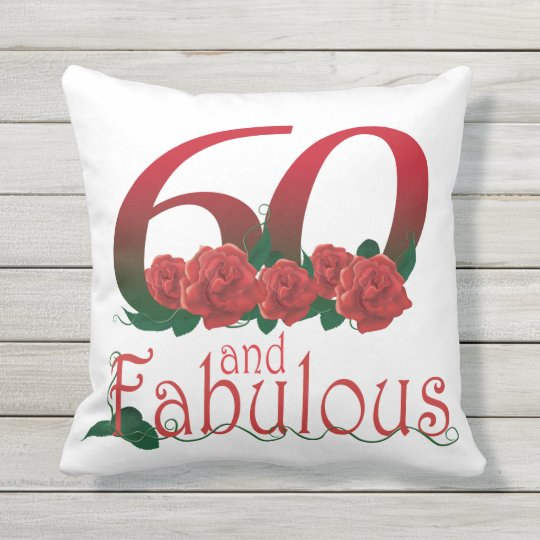 "60th Birthday Diva Outdoor Throw Pillow 20"" X 20"""