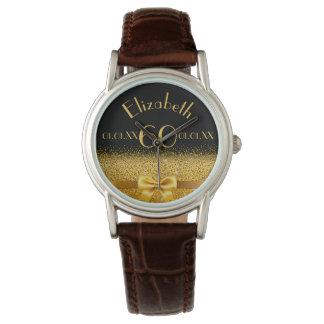 60th birthday elegant gold bow and ribbon black watch