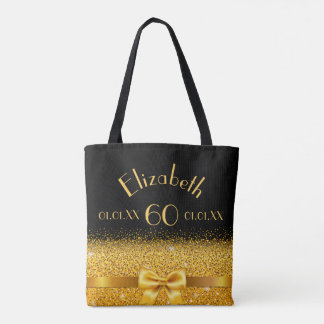 60th birthday elegant gold bow with sparkle black tote bag