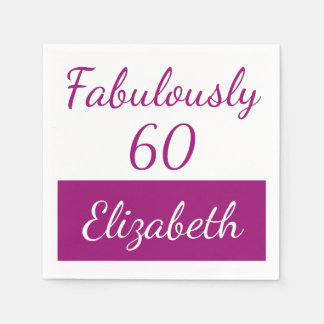 60th Birthday Fabulously 60 pink Disposable Napkin