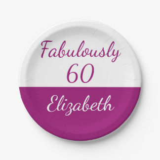 60th Birthday Fabulously 60 pink Paper Plate