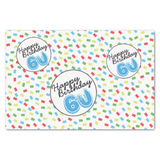 60th Birthday Festive Colorful Gift Wrap Supplies Tissue Paper