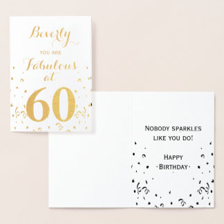60th Birthday Gold Foil Fabulous at 60 Foil Card