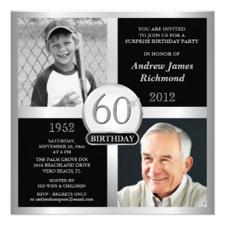 60th Birthday Invitations Then & Now Photos