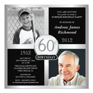 "60th Birthday Invitations Then & Now Photos 5.25"" Square Invitation Card"
