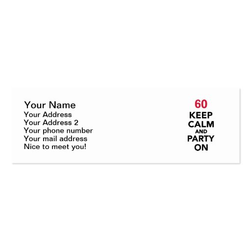 60th birthday Keep calm and party on Business Card Template