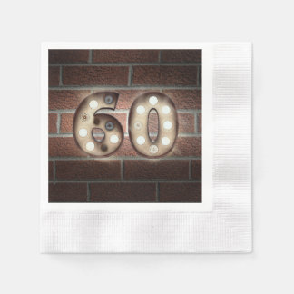 60th birthday marquee sign on brick wall disposable napkins