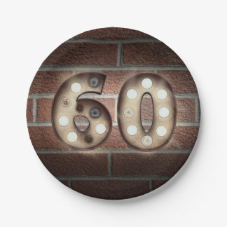 60th birthday marquee sign on brick wall paper plate