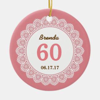 60th Birthday Memento White Lace L34EZ Ceramic Ornament