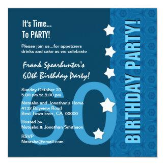 60th Birthday Modern Hues of Blue Funny D60B 13 Cm X 13 Cm Square Invitation Card